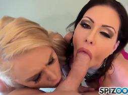 Super Hot Jessica Jaymes %26 youthful Alix Lynx deep-throating a monster beef whistle, ginormous arse and gigantic knockers - Spizoo