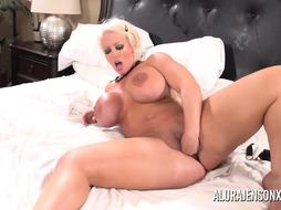 Alura Jenson group-fucked by 6 dark-hued lollipops at once