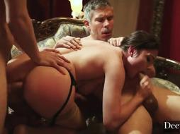 Awesome dark-haired is doing it with 2 dudes at the same time, on her fresh couch