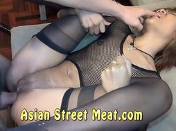 Steaming Thai stunner is suggesting her supah taut gash and butt for a bunch of cash