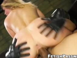 Jenna Ashley ball-gagged for sybian saddle railing and tough lovemaking