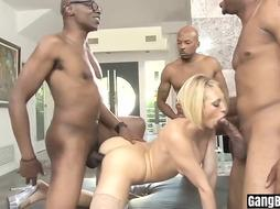 Milky dame is highly sexually aroused about having fuckfest with dark-hued dudes, until she finishes up downright tired