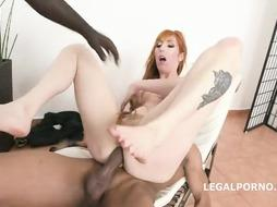 Ebony stud pokes a crimson haired dame, Lauren Phillips in her office, together with his homie