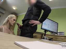LOAN4K. Adorable model in undergarments accepts hook-up for currency in loan office