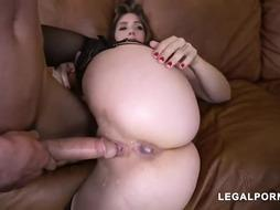 Super-Naughty damsel, Lena Paul deep-throats fuck-stick while getting doublefucked on the bed, finer than ever