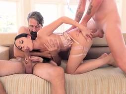Astonishig honey in fantastic tights is getting double-penetrated in the middle of the day and enjoying it