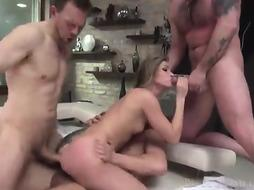 Inked female and 2 mischievous studs, Erik Everhard and David Perry are having an awesome 3some