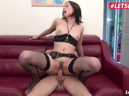 French, unexperienced black-haired is about to have buttfuck fuck-a-thon with a boy who isn't her bf