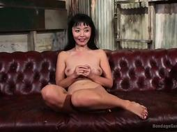 Smallish Chinese dark-haired is into BONDAGE & DISCIPLINE and can treat 4 studs at the same time