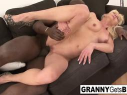 Grannie with faux bra-stuffers gets her cunny boinked by ebony spear