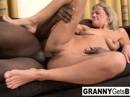 Ash-Blonde grannie wants her slit slammed with dark-hued shaft