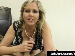 Impressive Cougar Julia Ann Wanks A Jizz-Shotgun Into Her Throat %26 Palms!