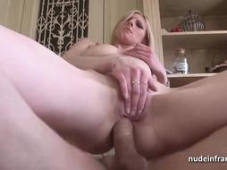 French ash-blonde got nailed in the culo while playing her cootchie with a crimson wand