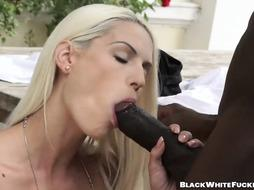 Uber-Sexy silver blondie takes enormous dark-hued pink cigar deep inwards