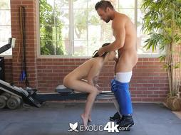 EXOTIC4K Sweat-Soaked Dark Haired Gym Smashed By Ample Jizz-Shotgun