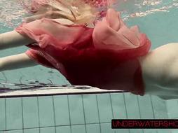 Katya Okuneva in crimson sundress glamour water flash