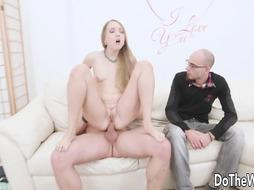 Anya Akulova is railing a rigid meat stick in front of her nerdy beau, just for joy