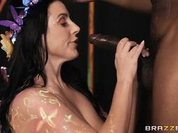 Angela Milky is mildly throating a XXL, dark-hued pecker and getting it up her taut butt
