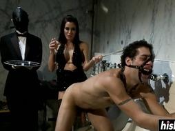Domme Gia disciplined 2 naughty men