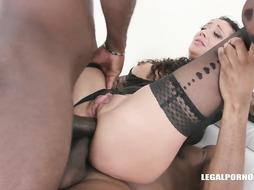 Morgan XX got slammed with 2 ebony rods at the same time and enjoyed it