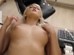 Uber-Sexy ash-blonde is privately getting drilled at work and attempting not to squeal too noisy, while nutting