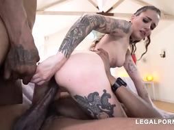 Tatted stunner, Luna Ultra-Cute is suggesting her dribbling moist cunny and backside to some dark-hued men