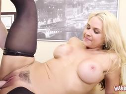 Platinum-Blonde stunner with massive milk cans liking gonzo fuck-fest