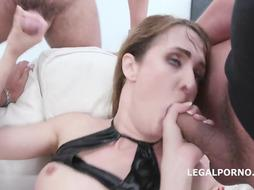 Andi Rye is dressed in ebony fishnets and blowing 4 rock rock hard pricks, one after the other