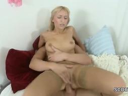Accomplished ash-blonde in softcore pantyhose is getting a monster manhood inwards her cock-squeezing vulva and donk