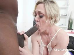 Big-Boobed, ash-blonde girl in softcore, milky undergarments, Dee Williams screws a ebony stud in her treatment bedroom