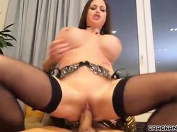 Delectable stunner with hefty udders is deep-throating trunk and getting it inwards both of her fuck-holes