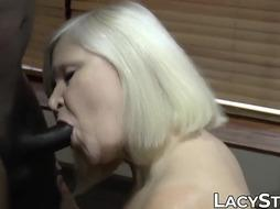 Grandma Lacey Starr joined by COUGAR for bi-racial poking