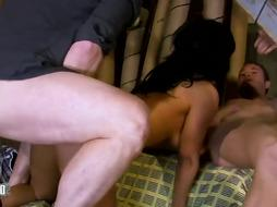 Ass-Fuck lovemaking luving, Arab dark haired got her muff meticulously munched, before having a super-naughty threeway