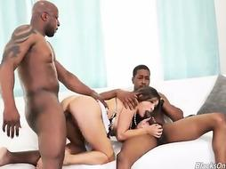 Enticing Krissy Lynn is gargling dark-hued sausages while having an multiracial three-way with her paramours