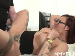 Tatted, crimson haired damsel is constantly having fuck-a-thon at work and inhaling schlongs like a professional