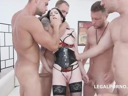 Anna de Ville is having harsh bang-out with some random fellows, whose peckers are highly firm
