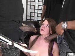 Naive red-haired mega-slut dual pounded by a BIG BLACK COCK group