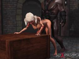 College Girl gets nailed firm by dark-hued guy in the dungeon space