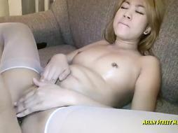Thai blondie in crimson undergarments is deep throating rod and getting it up her cock-squeezing booty