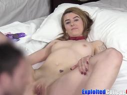 Tatted coed Hailey jizm strewn in first-ever audition poke