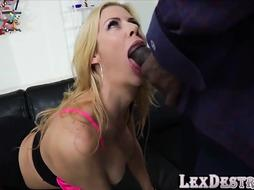 Buxom Towheaded Alexis Fawx Plows a Big Black Cock in Numerous Angles