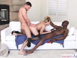 Kagney Linn Karter is having an multiracial, mmf threeway with her pals