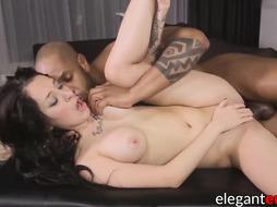 Cute huge-titted stunner takes BIG BLACK COCK in poon and taut rosy pucker