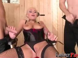 Corded buxom ash-blonde has her fuck holes packed with rock-hard pink cigar