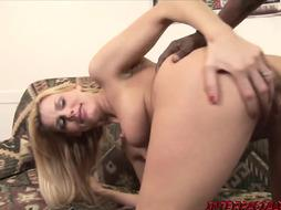 Blondie honey Darryl railing gonzo after deep throating off BIG BLACK COCK