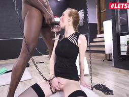 Ginger doll in a cool sundress and a ultra-kinky, ebony guy are screwing in his living apartment