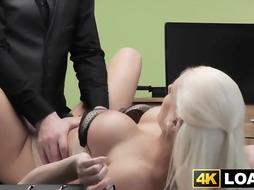Accomplished platinum-blonde knows that fuckin' fellows can take her as far as getting a job she wants
