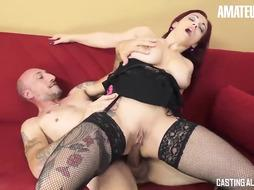 Italian sandy-haired in dark-hued pantyhose and garter belt luvs the way her paramour is nailing her donk