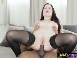 Dickriding European honey bootie smashed by dark-hued wang