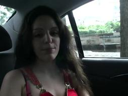 French whore in crimson is deepthroating trunk in the truck and in the nature, before getting analed